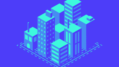 icon of city buildings on blue background