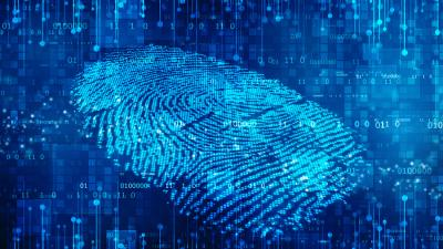 Graphic of fingerprint in blue programing code being analyzed