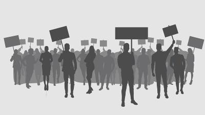 Graphic of people silouettes holding signs