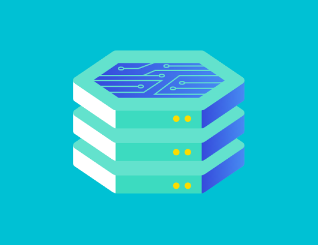 stacked hex icon on teal background