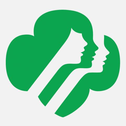 Girl Scouts logo with gray background